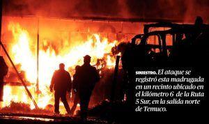 Foto ataque camiones Lautaro